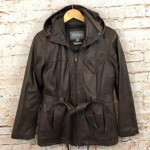 Wilsons brown leather jacket women's small hood